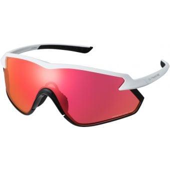 Shimano S-Phyre X Sunglasses Matte Metallic White w/ Red Ridescape Road Lens
