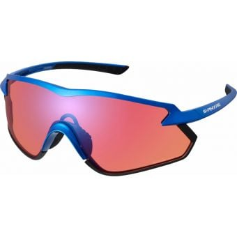 Shimano S-Phyre X Sunglasses Metallic Blue w/ Red Ridescape Off-Road Lens