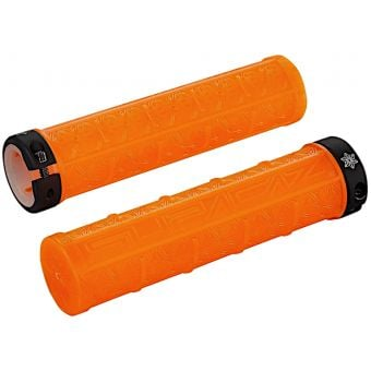 Supacaz Grizip Clear 135x32mm Lock-On MTB Grips Neon Orange