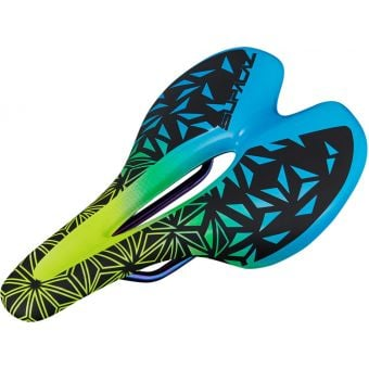 Supacaz Ignite Saddle Titanium Neon Yellow/Blue 155mm
