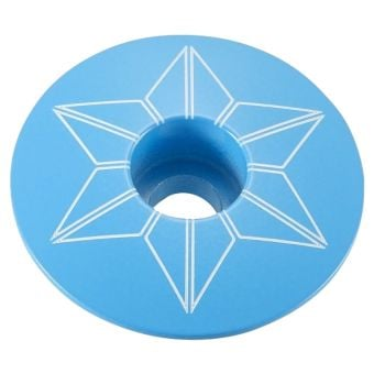 Supacaz Star Capz Powder Coated Top Cap Neon Blue