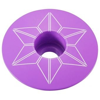 Supacaz Star Capz Powder Coated Top Cap Neon Purple
