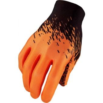 Supacaz SupaG Long Finger Gloves Splash Black/Neon Orange X-Large