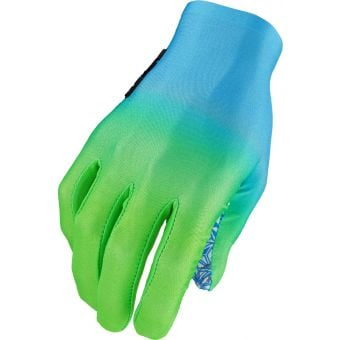 Supacaz SupaG Long Finger Gloves Splash Neon Blue/Green