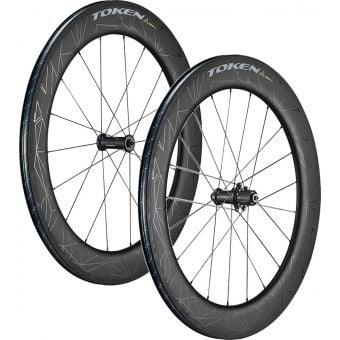 TOKEN Konax Tri Carbon Clincher Rim Brake Tubeless 76mm Wheelset Black (Shimano/SRAM 11sp)