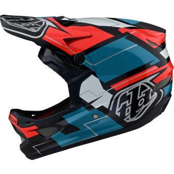 Troy Lee Designs D3 Fiberlite MIPS Full Face Helmet Vertigo Blue/Red