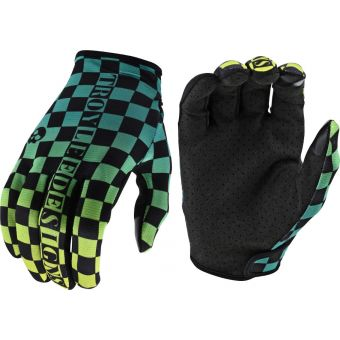 Troy Lee Designs Flowline MTB Gloves Checkers Green/Black 2021