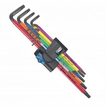 Wera 967/9 Torx 1 Extra Long HF L-Key 9 Piece Set BlackLaser Multicolour