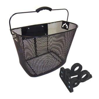 Bikecorp Front Wire Mesh Basket w/QR Handlebar Mount Black
