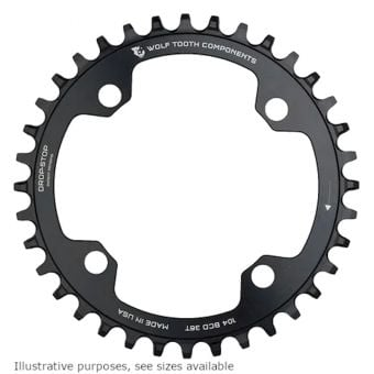 Wolf Tooth 104 BCD Drop Stop 1x Shimano 12spd Chainring Black 32T
