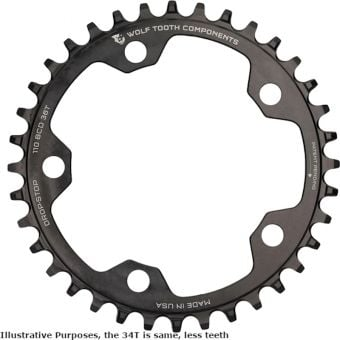 Wolf Tooth Gravel/CX 110 BCD 1x Drop Stop FlatTop Chainring Black