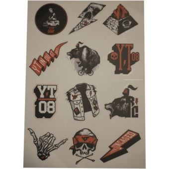 YT Assorted Sticker Sheet Black/Red