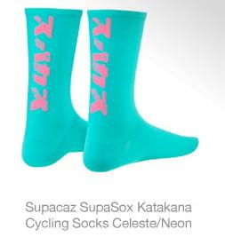 Supacaz SupaSox Katakana Cycling Socks Celeste/Neon Pink