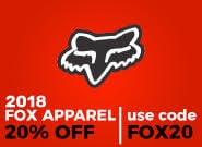 20% Off 2018 FOX Apparel